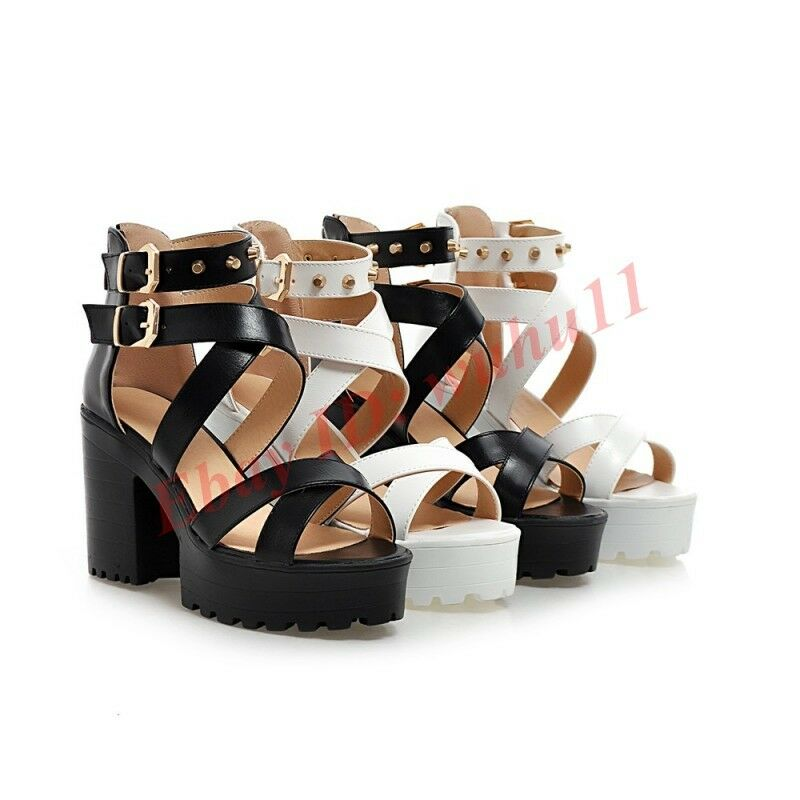 Fashion Womens Block Platform Punk Rivet Ankle Strap Sandals Chunky Heel shoes