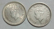 2 COIN LOT OF 1/4 RUPEE SILVER GEORGE VI *UNC/AUNC