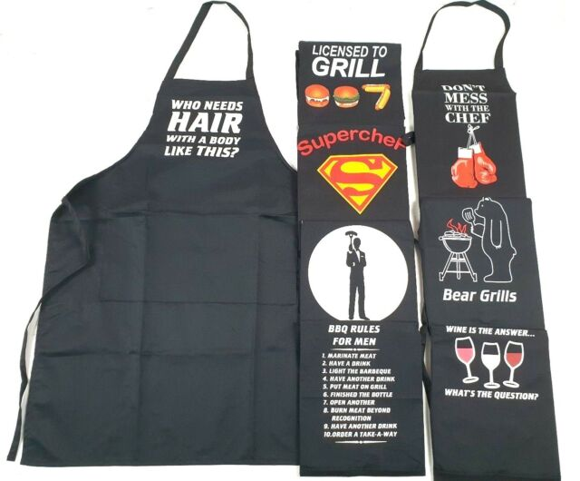 Adults Novelty Fun Funny Printed Black BBQ Kitchen Garden Cooking Apron Present