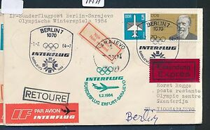 97491) Rda Coursier Lettre If Olympiades Sf Berlin-sarajevo 1.2.84-afficher Le Titre D'origine