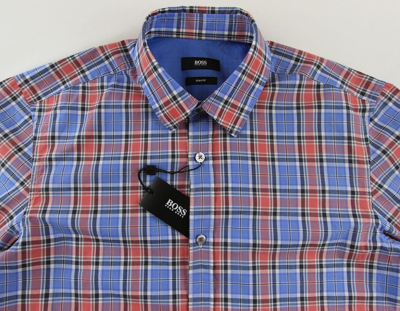 Men's HUGO BOSS bluee Red Plaid RONNY Shirt Extra Large XL NWT NEW + Slim Fit