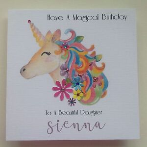 Image Is Loading PERSONALISED Handmade BIRTHDAY Card BRIGHT UNICORN Grand Daughter