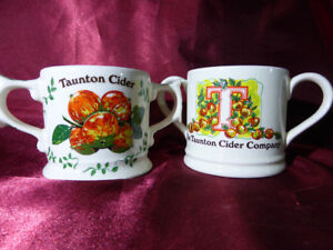 Pair-TAUNTON-CIDER-COMPANY-Twin-Handled-CERAMIC-MUGS-Wade-Pottery-1981-Ltd-Edit