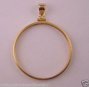 Coin-Bezel-One-Ounce-SILVER-ROUND-39mm-14K-Gold-Filled-Coin-Edge-Soldered-Bail