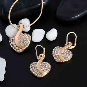 Bridal-gold-plated-Crystal-Heart-Necklace-Earrings-jewellery-set-gift-Clearance