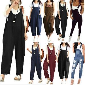 AU-Womens-Sleeveless-Dungaree-Jumpsuit-Playsuit-Loose-Romper-Overall-Harem-Pants