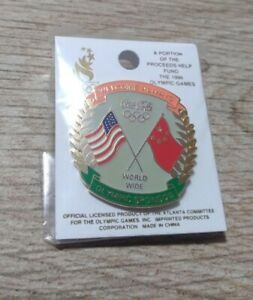 Coca Cola USA and China Flag Always Welcome Olympic Sponsor Enamel Lapel Pin