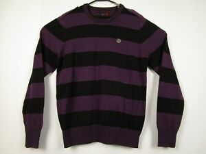 Mens-G-By-Guess-Medium-Purple-100-Cotton-Striped-Crewneck-Pullover-Sweater