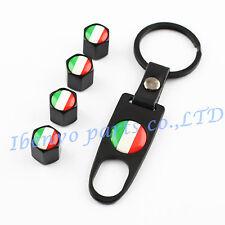 Key chain Black Metal Car Wheel Tyre Tire Stem Air Valve Cap For Italian Flags
