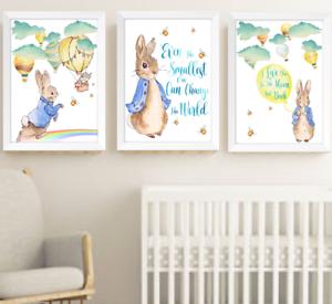 Peter Rabbit Beatrix Potter Print Set Of 3 Yellow And Blue Baby Children Room