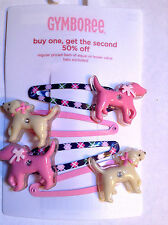 GYMBOREE~Smart Girls Rule~Argyle Puppy Hair Snaps Clips Barrettes 4pk NWT Dog Pi