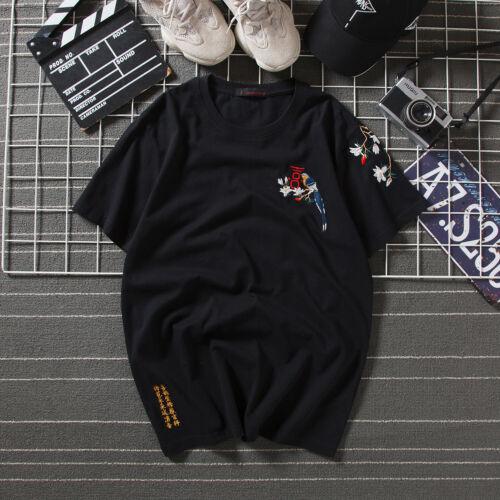 Niepce Magpie Shirt Japanese Tee Asian Streetwear Tee Embroidery T-shirt