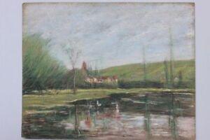 Maurice-Buisson-XX-Jh-Landschaft-mit-Dorf-Pastell