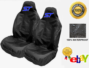 Pair Sports Bucket Car Seat Covers Protectors x2 ST BLUE LOGO FORD FOCUS ST