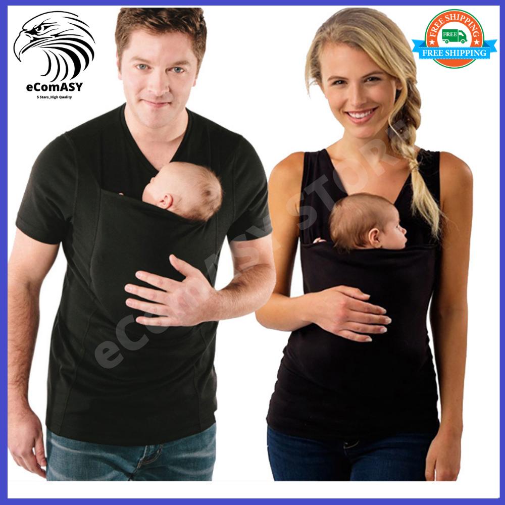 Dad Baby Care Kangaroo Pocket T-Shirt Vest With Carrier Holder Bag For Dad Mom