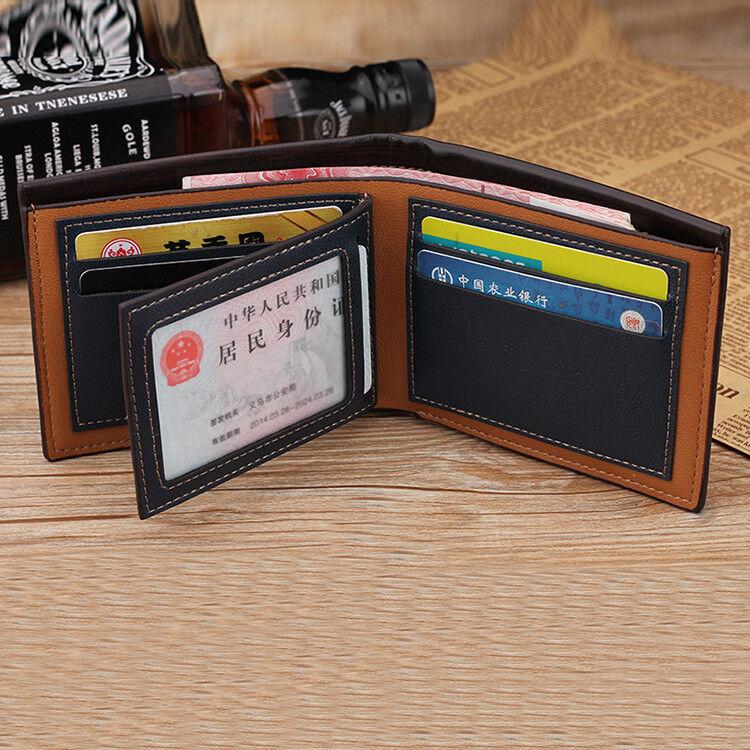 Men's Bifold Leather Credit ID Card Holder Wallet Billfold Purse Clutch Billfold  | eBay