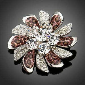 White-Gold-Plated-Made-With-Swarovski-Crystal-Leopard-Pattern-Pin-Brooch-Br849