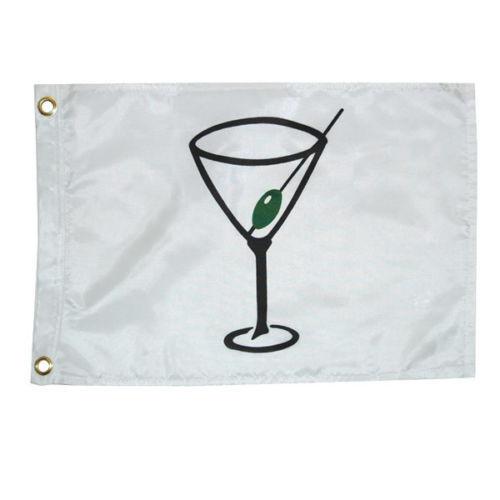 "Taylor Made 12/"" x 18/"" White Cocktail Glass Perma-Print Nylon Flag Boat 9118"