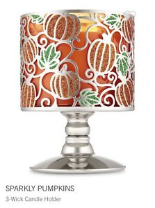 BATH-amp-BODY-WORKS-Sparkly-Pumpkins-Candle-Holder-Pedestal-3-Wick-Candle-Sleeve
