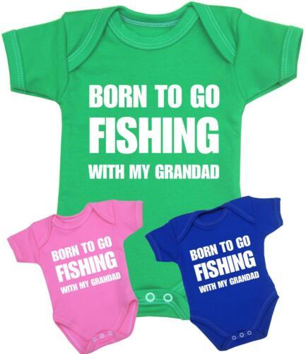 BabyPrem Baby Clothes Born FISHING with GRANDAD Bodysuit Vest Slogan Baby Shower