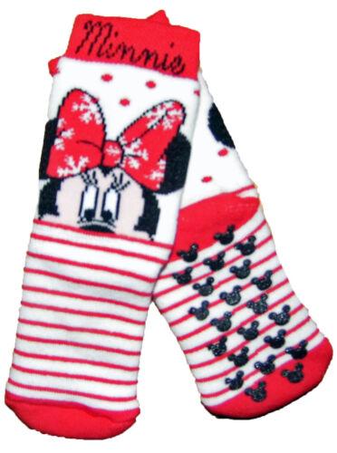 Baby Girls Disney Minnie Mouse Slipper Socks Non-Slip Grippers UK Size 0-2 9-12