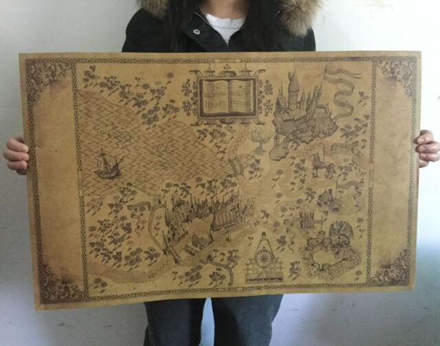 Retro Harry Potter Magic Old World Map Brown Kraft Paper Wizarding ...