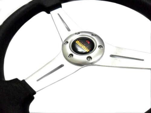 "Horn Button New 14/"" Black PU Sport Silver Spoke Car Racing Steering Wheel"