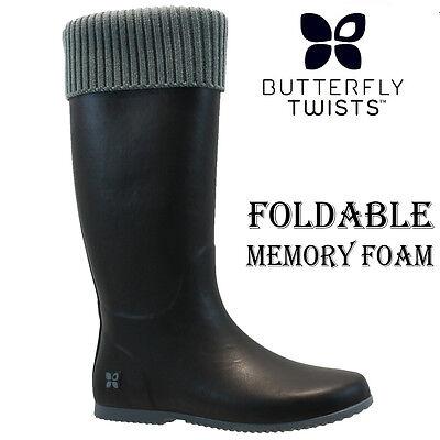 NEW BUTTERFLY TWIST LADIES FOLDABLE RAIN SNOW FESTIVAL WELLIES WELLINGTON BOOTS