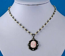 Pink & white Cameo Necklace Antique style gold colour necklace with white beads