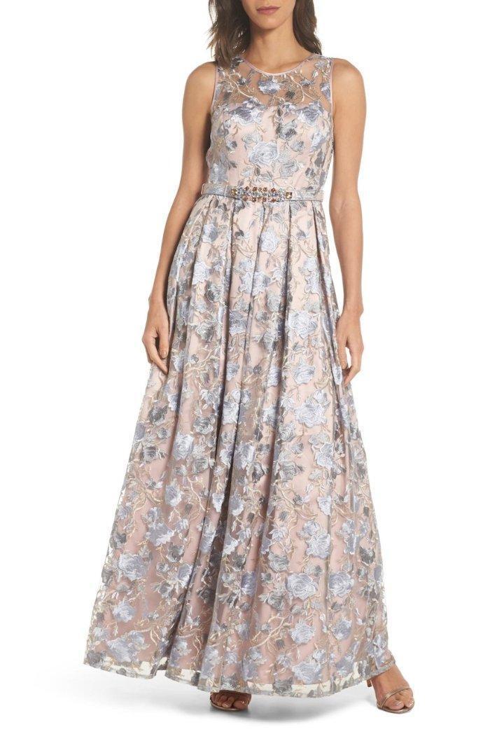 ELIZA J® 12 bluesh Embroidered Jewel Belt Illusion Gown or Dress NWT