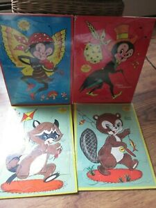 4-Vintage-Furry-Puzzles-By-Built-Rite-126-amp-129-9-1-4-x-12-5-8-034