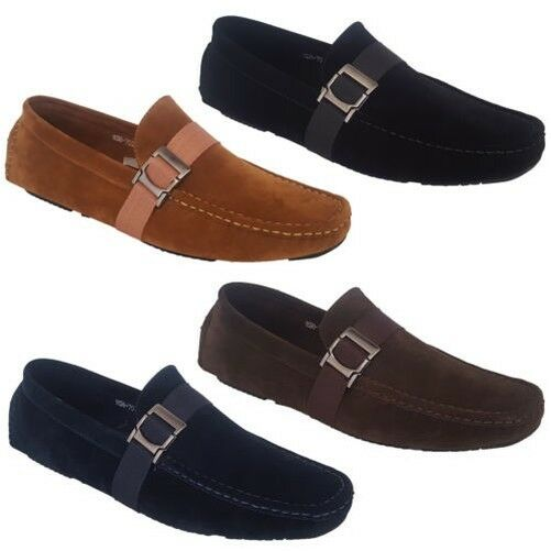 Mens Moccasins Suede Look Shoes Driving
