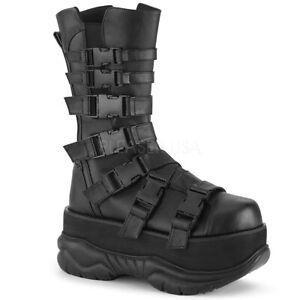 Demonia-NEPTUNE-210-Men-039-s-Black-Punk-Emo-Techno-Platform-Side-Zip-Mid-Calf-Boots