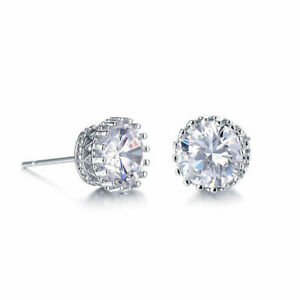 Details About Silver Pink Cz Princess Crown Stud Earrings For Women S