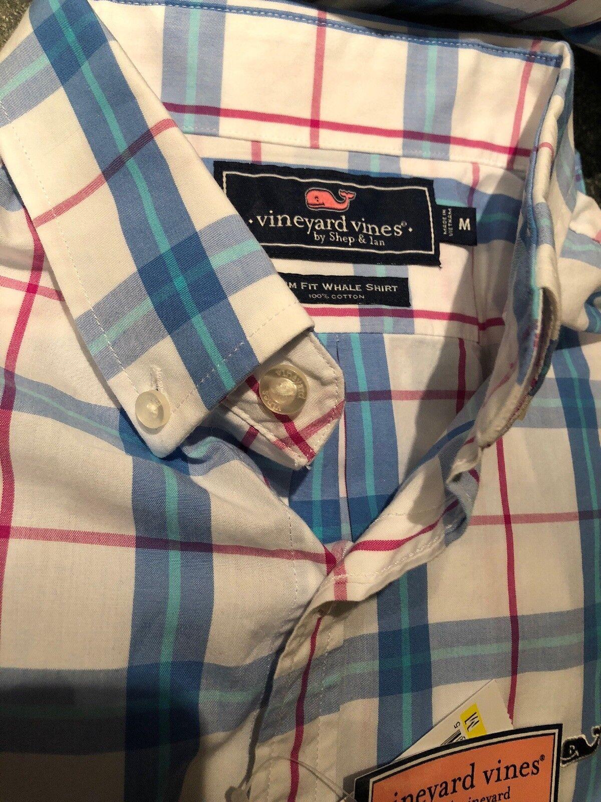 Vineyard Vines Whale Shirt Marsara Plaid Aurora Aurora Aurora Slim Fit LS Medium M  NWT  98 05698c