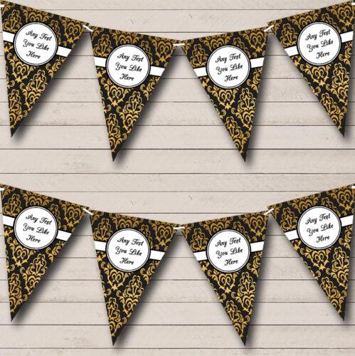 Negro y Oro Vintage Damasco personalizado de jubilación empavesado Fiesta Banner