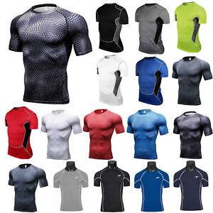 Men-Compression-T-Shirt-Short-Sleeve-Wear-Base-Layer-Tank-Top-Vest-Sport-Running