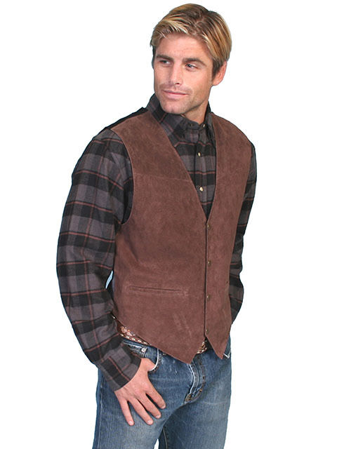 Men's New Western Beautiful Expresso Brown  Boar Suede Leather Vest Scully