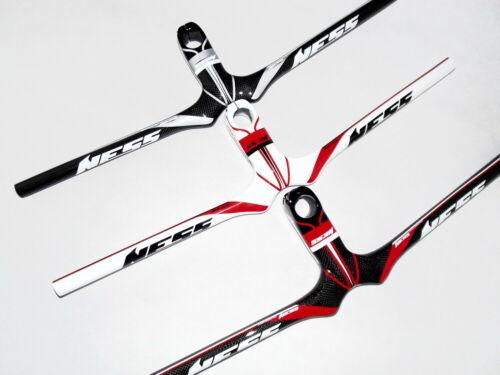 Carbon MTB Road bike flat Riser bar Handlebar 58-72cm Integrated Bar Stem 9-12cm