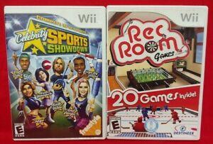 Rec Room + Celebrity Sports Showdown Nintendo Wii Wii U 2 Game Family Sport Lot