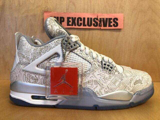 on sale c080b eda43 Nike Jordan Retro 4 IV Laser 705333-105 White Chrome Metallic Silver Size 10