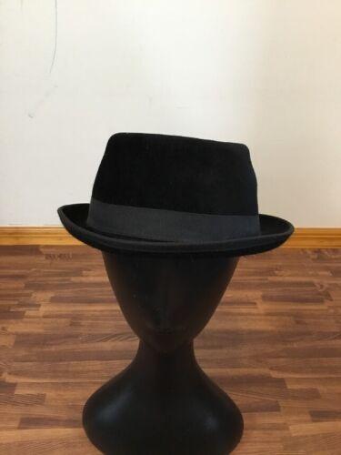 Mayser Pork Pie Black Hat with Black Ribbon Trim