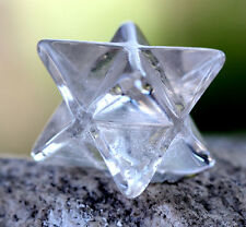 Clear Quartz STAR Merkaba Carving Gemstone Crystal Healing Sacred Geometry GIFT