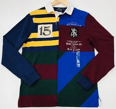 Ralph LAUREN RUGBY Maglietta Custom Slim Fit strisce e le patch di ispirazione vintage.