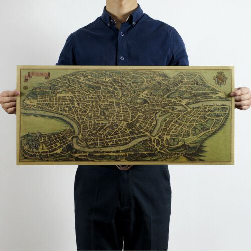 Poster Vintage Artwork Wall Decor Roma Airview Map City Map 28x12 Inch Gift
