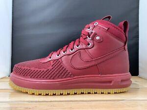 Men s Nike Lunar Force 1 Duckboot Team Red Gum Light Brown 805899 ... 81ae939d8