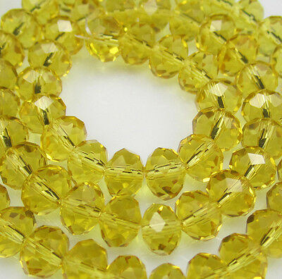 NEW Jewelry Faceted 100pcs Rondelle crystal #5040 3x4mm Beads yellow color BZE99