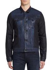 NWT Mens True Religion Danny Moto Trucker Slim Black/Blue Waxed jacket 2XL $328