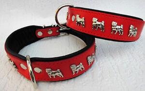 Collier de chien - tour de cou 42-50cm / 45mm, cuir rouge-noir (947)
