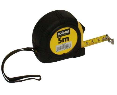 Rolson Tape Measure 5 Metre 19mm Wide Blade Belt Clip Wrist Strap Measuring Tool
